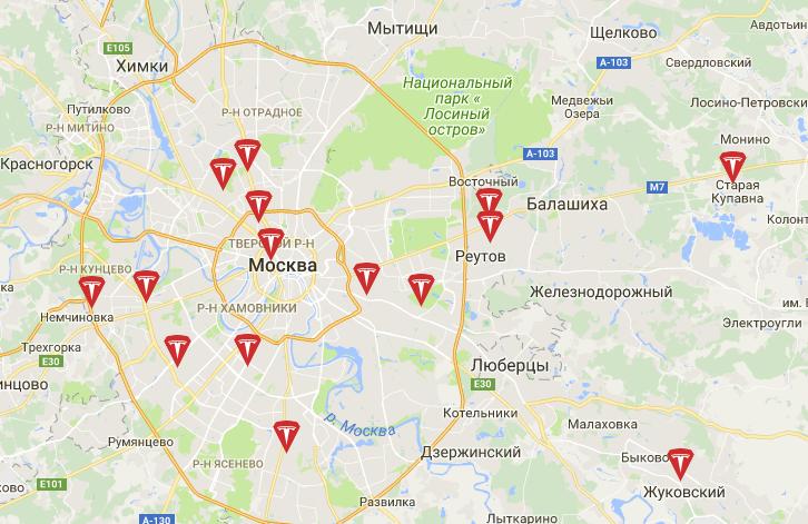 заправки тесла в россии карта